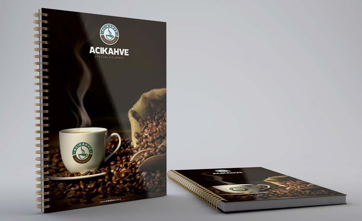 aci kahve promosyon defter tasarimi