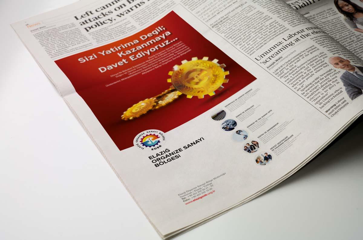 elazig organize sanayi bolgesi gazete ilanı