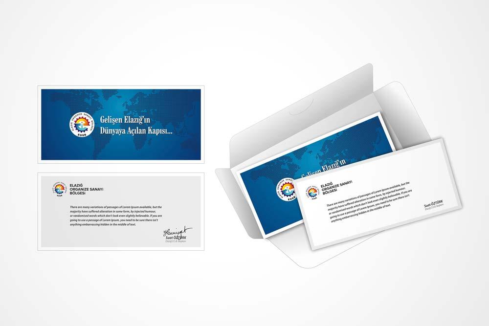 elazig organize sanayi bolgesi ozel tebrik karti ve zarfi tasarimi