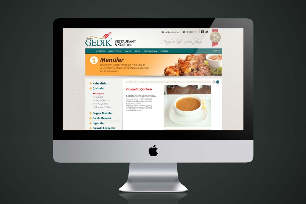gedik restaurant web sitesi alt sayfa