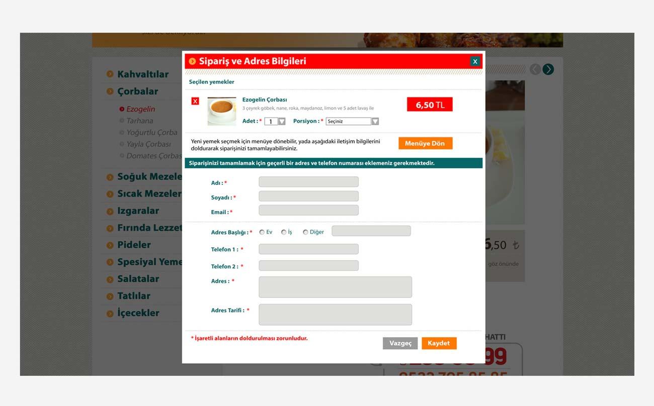 gedik restaurant web sitesi siparis